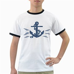 Anchor Pencil Drawing Art Ringer T Shirts by picsaspassion