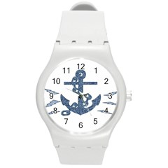 Anchor Pencil Drawing Art Round Plastic Sport Watch (m)