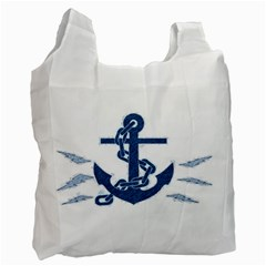Blue Anchor Oil Painting Art Recycle Bag (one Side) by picsaspassion