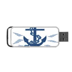 Blue Anchor Oil Painting Art Portable Usb Flash (two Sides) by picsaspassion