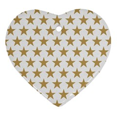 Golden Stars Pattern Heart Ornament (2 Sides) by picsaspassion