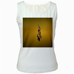 Flame Black, Golden Background Women s White Tank Top by picsaspassion