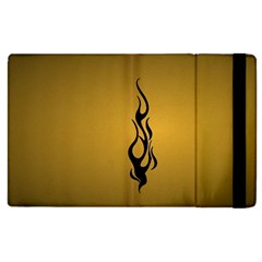 Flame Black, Golden Background Apple Ipad 3/4 Flip Case by picsaspassion