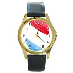 Tricolor Banner Watercolor Painting, Red Blue White Round Gold Metal Watch