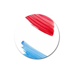 Tricolor Banner Watercolor Painting, Red Blue White Magnet 3  (round) by picsaspassion