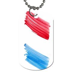 Tricolor Banner Watercolor Painting, Red Blue White Dog Tag (two Sides) by picsaspassion