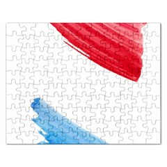 Tricolor Banner Watercolor Painting, Red Blue White Rectangular Jigsaw Puzzl by picsaspassion