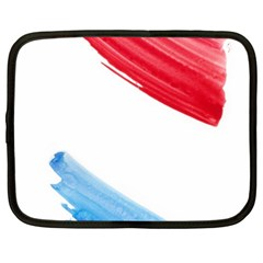 Tricolor Banner Watercolor Painting, Red Blue White Netbook Case (xxl)  by picsaspassion