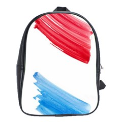 Tricolor Banner Watercolor Painting, Red Blue White School Bags(large)  by picsaspassion