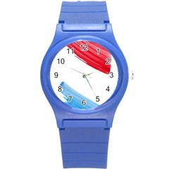 Tricolor Banner Watercolor Painting, Red Blue White Round Plastic Sport Watch (s) by picsaspassion