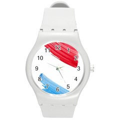 Tricolor Banner Watercolor Painting, Red Blue White Round Plastic Sport Watch (m)