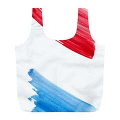 Tricolor Banner Watercolor Painting, Red Blue White Full Print Recycle Bags (l)  by picsaspassion