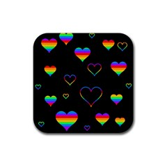 Rainbow Harts Rubber Square Coaster (4 Pack)  by Valentinaart