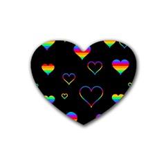 Rainbow Harts Rubber Coaster (heart)  by Valentinaart