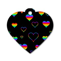 Rainbow Harts Dog Tag Heart (two Sides) by Valentinaart