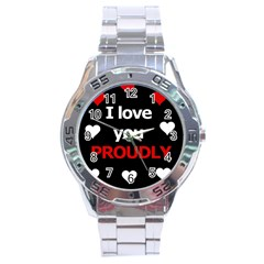 I Love You Proudly Stainless Steel Analogue Watch by Valentinaart