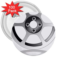 Car Wheel Chrome Rim 3  Buttons (100 pack)