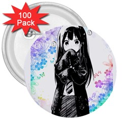 Shy Anime Girl 3  Buttons (100 Pack)  by Brittlevirginclothing