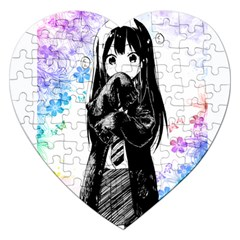 Shy Anime Girl Jigsaw Puzzle (heart) by Brittlevirginclothing