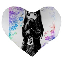 Shy Anime Girl Large 19  Premium Flano Heart Shape Cushions by Brittlevirginclothing
