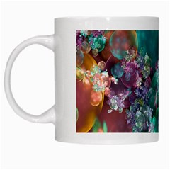 Butterflies, Bubbles, And Flowers White Mugs by WolfepawFractals