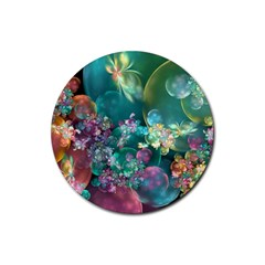 Butterflies, Bubbles, And Flowers Rubber Coaster (round)  by WolfepawFractals