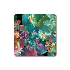 Butterflies, Bubbles, And Flowers Square Magnet by WolfepawFractals