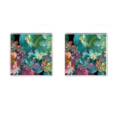 Butterflies, Bubbles, And Flowers Cufflinks (square) by WolfepawFractals