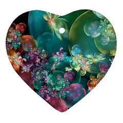 Butterflies, Bubbles, And Flowers Heart Ornament (2 Sides) by WolfepawFractals