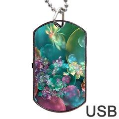 Butterflies, Bubbles, And Flowers Dog Tag Usb Flash (one Side) by WolfepawFractals