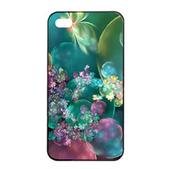 Butterflies, Bubbles, And Flowers Apple Iphone 4/4s Seamless Case (black) by WolfepawFractals