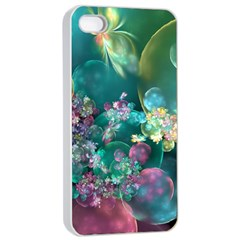Butterflies, Bubbles, And Flowers Apple Iphone 4/4s Seamless Case (white) by WolfepawFractals