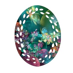 Butterflies, Bubbles, And Flowers Ornament (oval Filigree)  by WolfepawFractals
