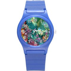 Butterflies, Bubbles, And Flowers Round Plastic Sport Watch (s) by WolfepawFractals