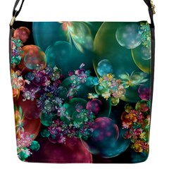 Butterflies, Bubbles, And Flowers Flap Messenger Bag (s) by WolfepawFractals