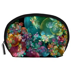 Butterflies, Bubbles, And Flowers Accessory Pouches (large)  by WolfepawFractals