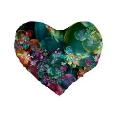 Butterflies, Bubbles, And Flowers Standard 16  Premium Flano Heart Shape Cushions by WolfepawFractals
