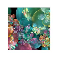 Butterflies, Bubbles, And Flowers Small Satin Scarf (square) by WolfepawFractals