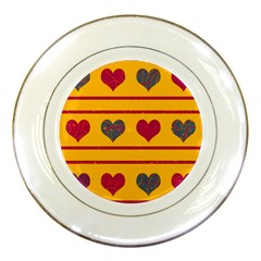 Decorative harts pattern Porcelain Plates by Valentinaart