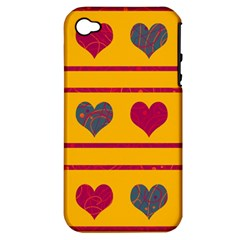 Decorative Harts Pattern Apple Iphone 4/4s Hardshell Case (pc+silicone) by Valentinaart