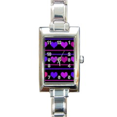 Purple And Magenta Harts Pattern Rectangle Italian Charm Watch by Valentinaart