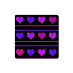 Purple And Magenta Harts Pattern Square Magnet by Valentinaart