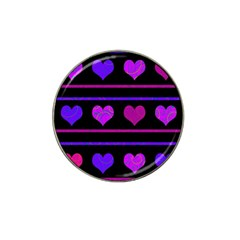Purple And Magenta Harts Pattern Hat Clip Ball Marker (4 Pack) by Valentinaart