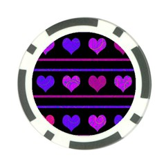 Purple And Magenta Harts Pattern Poker Chip Card Guards (10 Pack)  by Valentinaart