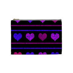 Purple And Magenta Harts Pattern Cosmetic Bag (medium)  by Valentinaart