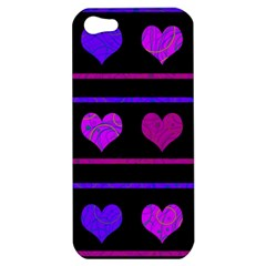 Purple And Magenta Harts Pattern Apple Iphone 5 Hardshell Case by Valentinaart