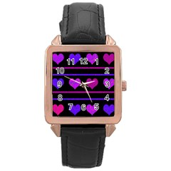 Purple And Magenta Harts Pattern Rose Gold Leather Watch  by Valentinaart