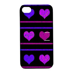 Purple And Magenta Harts Pattern Apple Iphone 4/4s Hardshell Case With Stand by Valentinaart