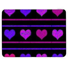 Purple And Magenta Harts Pattern Samsung Galaxy Tab 7  P1000 Flip Case by Valentinaart