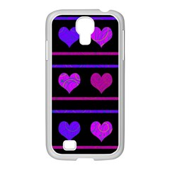 Purple And Magenta Harts Pattern Samsung Galaxy S4 I9500/ I9505 Case (white) by Valentinaart